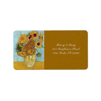 Van Gogh's Sunflowers Label