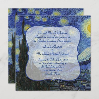 Van Gough Starry Night Wedding Invitation