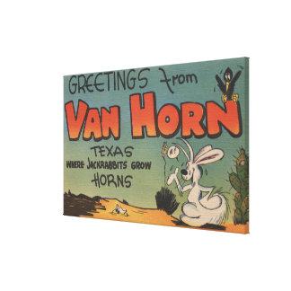 Van Horn Tejas Jackrabbit y cuervo Impresión En Lona