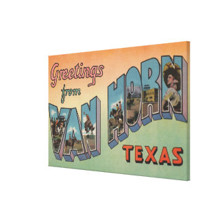Van Horn Texas - Large Letter Scenes Gallery Wrapped Canvas