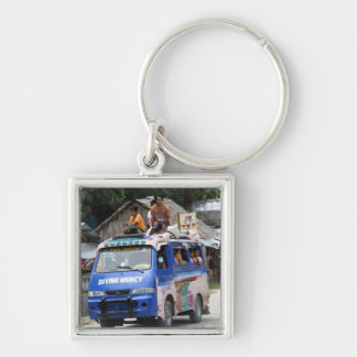 Van Silver-Colored Square Keychain