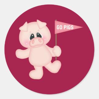 Van los cerdos pegatina redonda