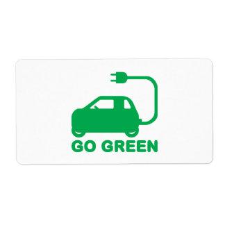 Van los coches eléctricos de la impulsión verde de etiquetas de envío
