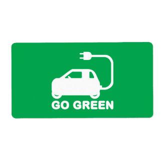 Van los coches eléctricos de la impulsión verde de etiqueta de envío