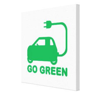 Van los coches eléctricos de la impulsión verde de impresión en lienzo estirada