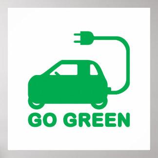 Van los coches eléctricos de la impulsión verde de impresiones