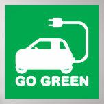 Van los coches eléctricos de la impulsión verde de poster