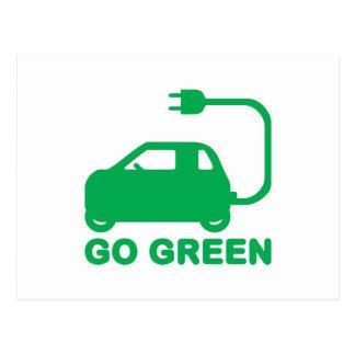 Van los coches eléctricos de la impulsión verde de postales
