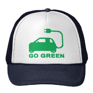 Van los coches eléctricos de la impulsión verde gorros