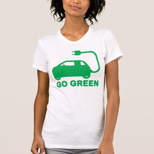 Van los coches eléctricos de la impulsión verde camiseta