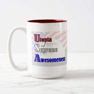 ¡Van los E.E.U.U.! Utopía de Awesomeness supremo Taza De Dos Tonos