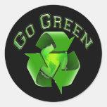 Van los Earthlings Verdes-Recycel Pegatina Redonda