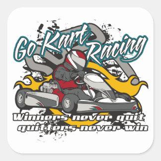 Van los ganadores de Kart Pegatina Cuadrada