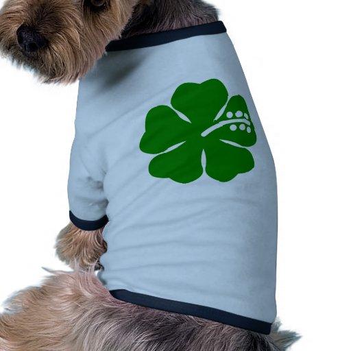 Van los hibiscos verdes del tema camiseta de mascota