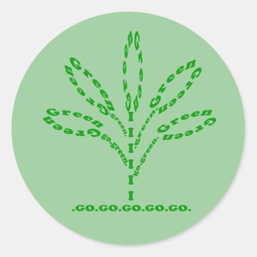van los pegatinas verdes de la planta de la pegatina redonda