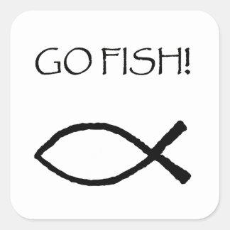 Van los pescados pegatina cuadrada