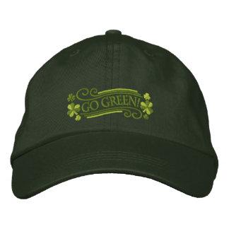 Van los tréboles y el texto verdes gorras bordadas