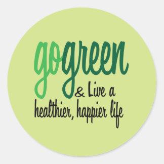 Van más felices vivos del verde etiqueta redonda