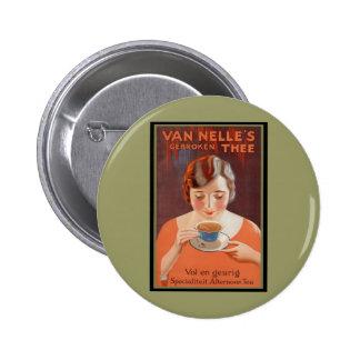 Van Nell s - Vintage Tea Advertising Pinback Button