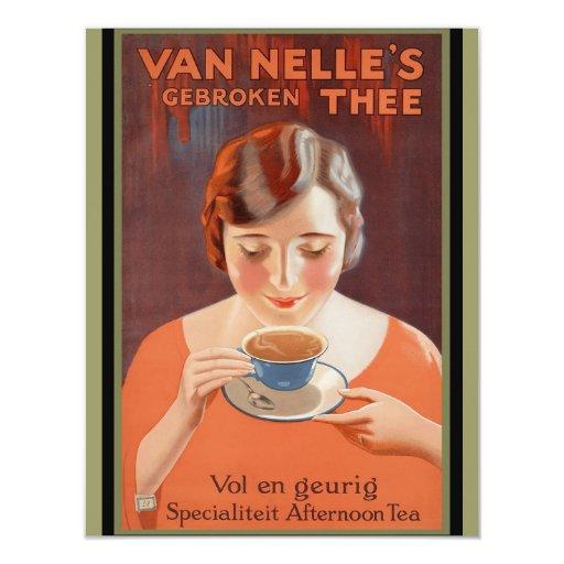 Van Nell's - Vintage Tea Advertising 4.25x5.5 Paper Invitation Card