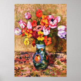 Van Rysselberghe - Tulips and Nasturtiums Poster