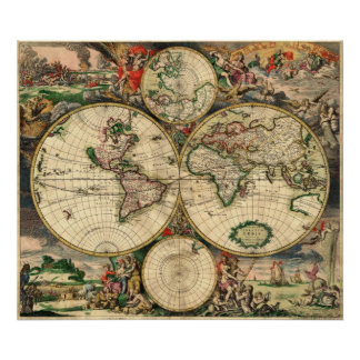 van Schagen  World Map 1680 Poster