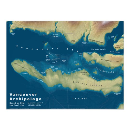 Vancouver archipelago sea rise map poster zazzle vancouver archipelago sea rise map poster gumiabroncs Choice Image