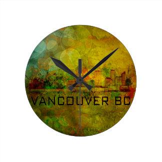 Vancouver BC City Skyline on Grunge Background Ill Round Clock