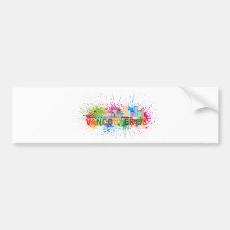 Vancouver BC Skyline Paint Splatter Illustration Bumper Sticker