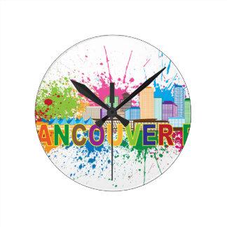 Vancouver BC Skyline Paint Splatter Illustration Round Clock