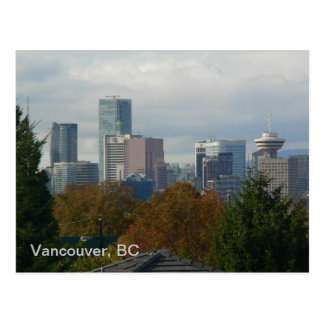 Vancouver BC Skyline with Fall Colors Postcard