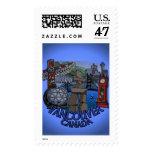 Vancouver Canada Postage Landmark Art Stamps