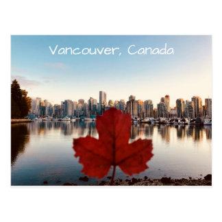 Vancouver Canada Red Maple Leaf Skyline Postcard