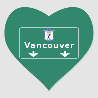 Vancouver, Canada Road Sign Heart Sticker