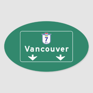 Vancouver, Canada Road Sign Oval Sticker