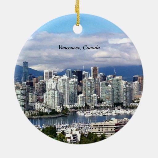 Vancouver Canada Skyline Christmas Tree Ornaments | Zazzle