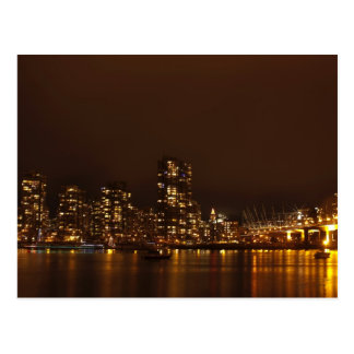 Vancouver Harbour at Night Postcard