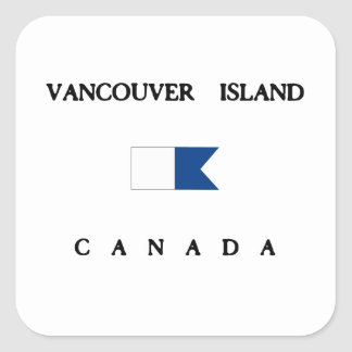 Vancouver Island Canada Alpha Dive Flag Square Stickers