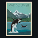 "Vancouver Island | Killer Whales Postcard<br><div class=""desc"">Anderson Design Group is an award-winning illustration and design firm in Nashville,  Tennessee. Founder Joel Anderson directs a team of talented artists to create original poster art that looks like classic vintage advertising prints from the 1920s to the 1960s.</div>"