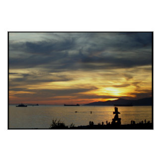 Vancouver Poster BC Sunset Seascape Print