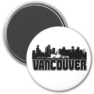 Vancouver Skyline 3 Inch Round Magnet