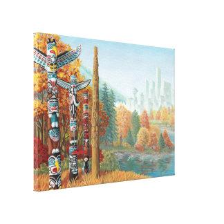 Vancouver Totem Poles Art Print Canvas