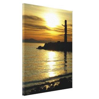 Vancouver Totem Poles Sunset Art Print Canvas