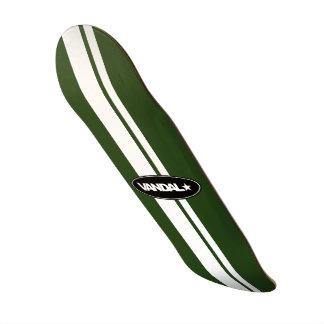 VANDAL★ Racing Stripe (White on Money Green) Skateboard