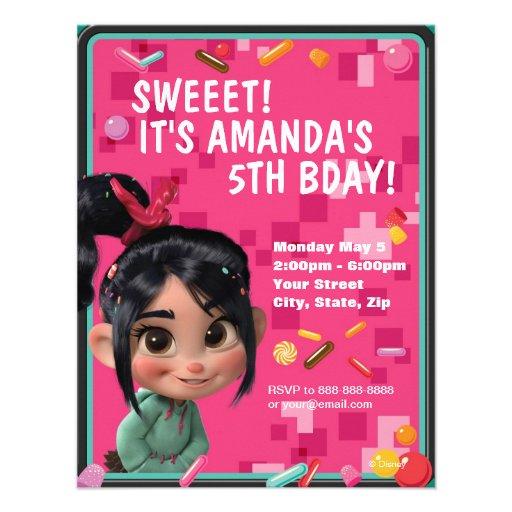 """Vanellope Von Schweetz Birthday Invitation 4.25"""" X 5.5"""" Invitation"""