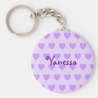 Vanesa en púrpura llaveros personalizados