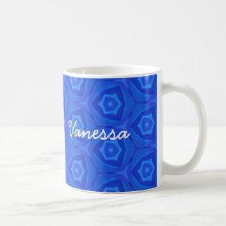 VANESSA Blue Mod Pattern Custom Name Collection Coffee Mug