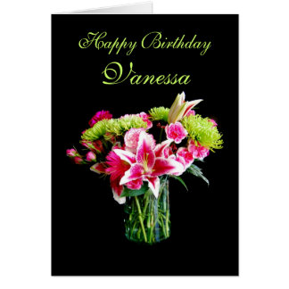 Vanessa Happy Birthday, Stargazer Lily Bouquet Card