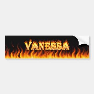 Vanessa real fire and flames bumper sticker design car bumper sticker