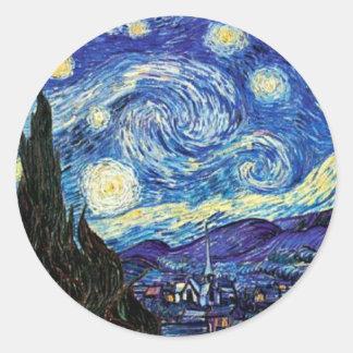 VanGogh, Starry Night Classic Round Sticker
